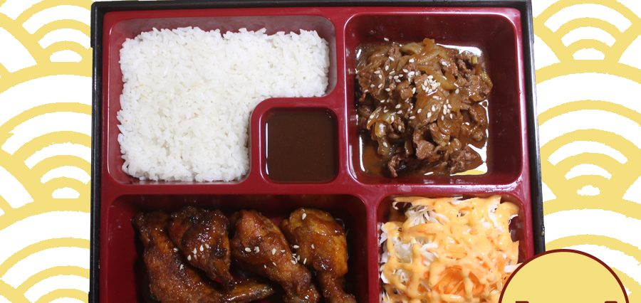 Delivery Catering Order Makanan Paket Bento 3 Beef Teriyaki spicy, Chicken Wing, Salad, Nasi