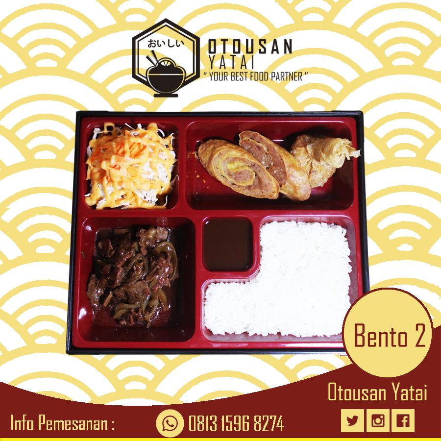 Delivery Order Paket Bento 2 Beef teriyaki, Ekado, Chicken Roll, Salad, Nasi