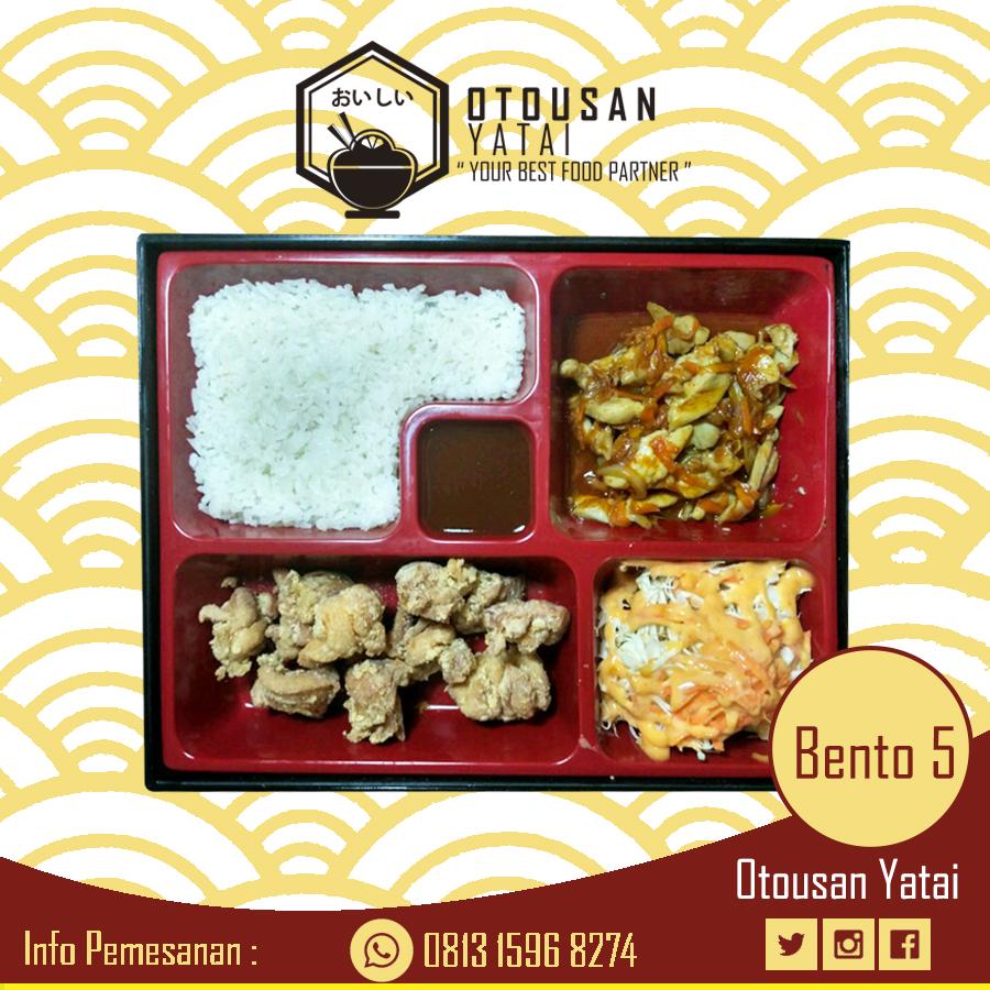 Jasa Catering Makanan Paket Bento 5 Beef yakiniku, Chicken karage, Salad, Nasi