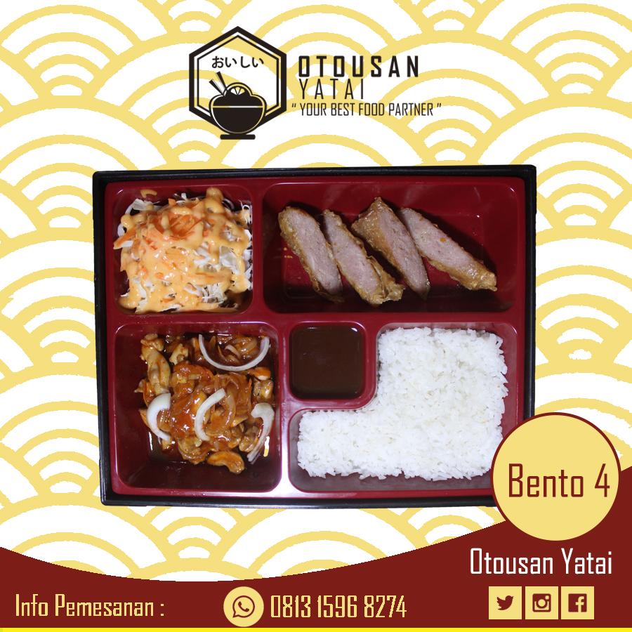 Pesan Makanan Online Paket Bento 4 Chicken Sweet dan Sour, Chicken Roll skin tofu, Salad, Nasi